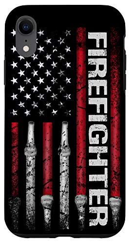 iPhone XR Funny Firefighter american flag husband fireman Firefighting Case