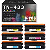 6-Pack (2C+2Y+2M) TN-433 High Yield Toner Cartridge Compatible for Brother Ink Cartridge Replacement for Brother HL L8260CDW L8260CDW DCP L8410CDW MFC L8610CDW L8690CDW L8900CDW Printers.