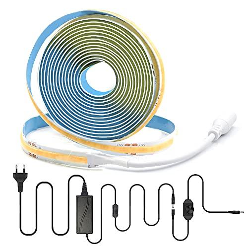 Arotelicht Striscia LED COB Striscia LED flessibile ad alta densità 3m 320LED/m Nastri LED deformabile dimmerabile 12V 3000K bianco caldo IP20 per TV Camera da letto Cucina Decorazione d'interni