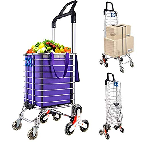 Portable Stair Climbing Cart with 8 Wheels, Heavy Duty Double Handle Rolling Grocery Laundry Utility Shopping Cart