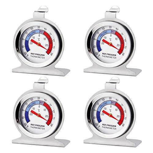Lot de 4 Thermomètres,Thermomètre Réfrigérateur Congélateur Thermomètre à Large Cadran Série Classique Thermomètre de Température pour Congélateur Réfrigérateur Refroidisseur