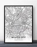ZWXDMY Leinwand Bild,Mexiko Stadt Karte Drucken Schwarz Und