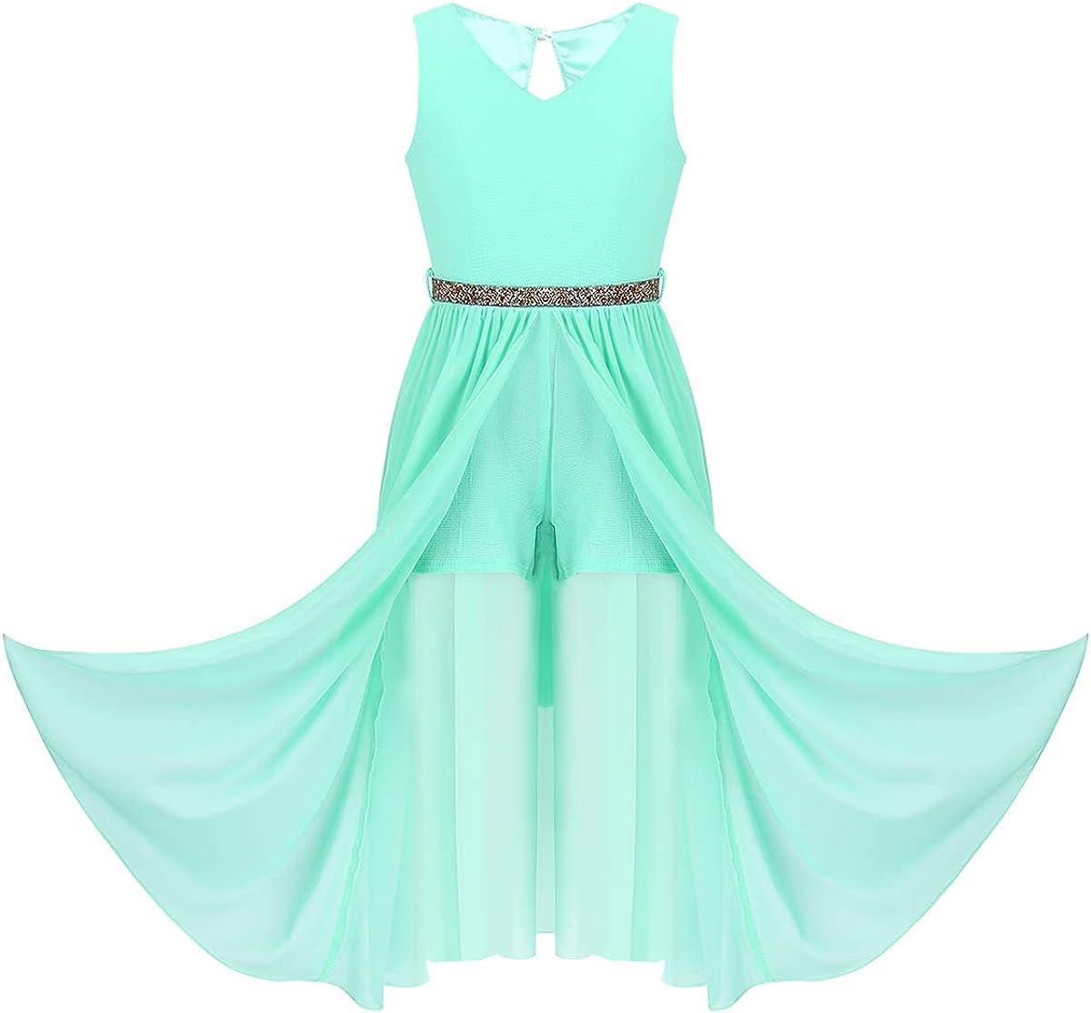 moily Big Girls Sleeveless V Neck Romper Chiffon Maxi Dress with Belt Bridesmaid Wedding Party Dancewear