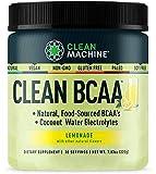 Clean BCAA - Natural Food Sourced BCAAs & Coconut Water Electrolytes - Award Winning Vegan Amino Supplement - Lemonade - 222g