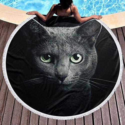 Toallas Playa Redondas Tapices Gato Azul Ruso Mandala