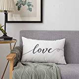 Sanmetex Love Lumbar Pillow Cover 12 X 20 Inches, Rectangular Decorative Cushion Cover for Bed, Bedroom,Great Gifts for Valentines Day, Thanksgiving Day and Christmas.