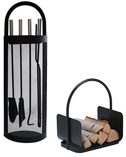 Alpertec 39030860 - Juego de utensilios para chimenea en hierro (2 piezas), color negro