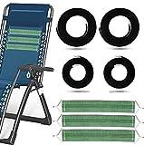 tEEZErshop Cuerda de goma con 3 bandas de refuerzo para tumbona de relax, tumbona de jardín, playa, juego de 4 cuerdas elásticas (2 cuerdas largas y 2 cortas)