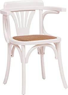 Biscottini Thonet Solid Wood ash, Antiqued White Finish and Rattan seat W45xDP42xH77 cm Sized armrests Chair