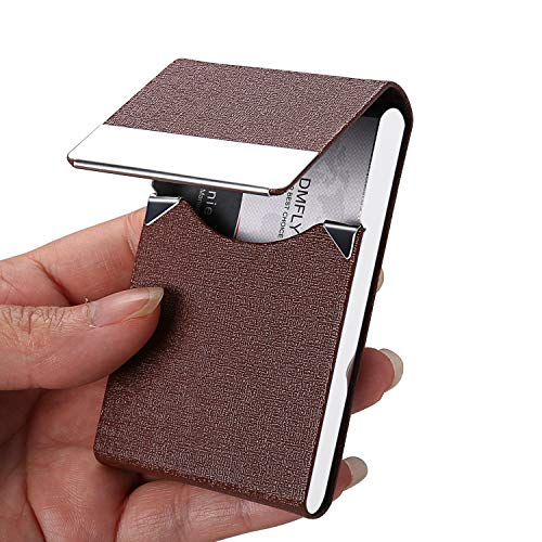 DMFLY Business Card Holder, PU Leather Business Card Case, Metal Card Holder, Slim Card Case, Pocket Name Card Holder for Women and Men, Magnetic Closure, Coffee -j