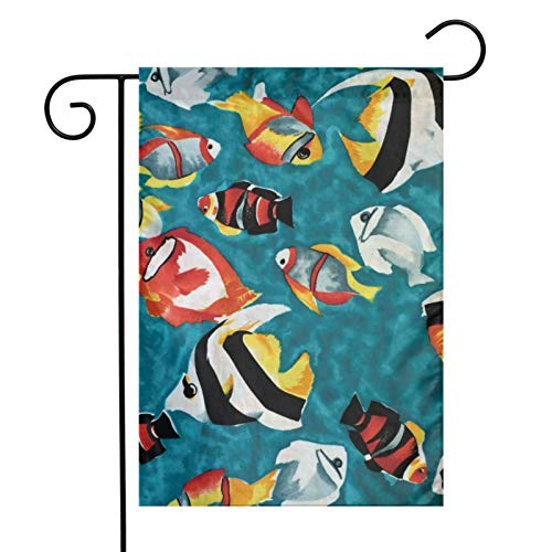 KAWAHATA Colorful Tropical Fish UV Fade Resistant Garden Flags Custom Vivid Color Home Decoration