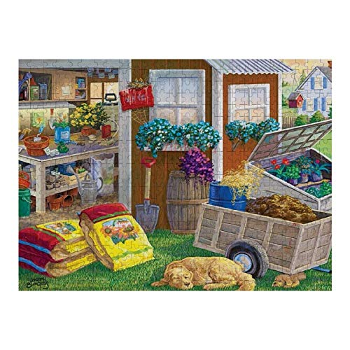 300 Piece Wooden Jigsaw Puzzle Summer Planting Shed, Dog And Puppy Jigsaw Puzzles Fun Game Toys Birthday Gifts (Without Frame)