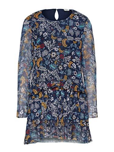 NAME IT Festliches Mädchen Kleid Langarm 13157220 Dark Saphire Gr.140