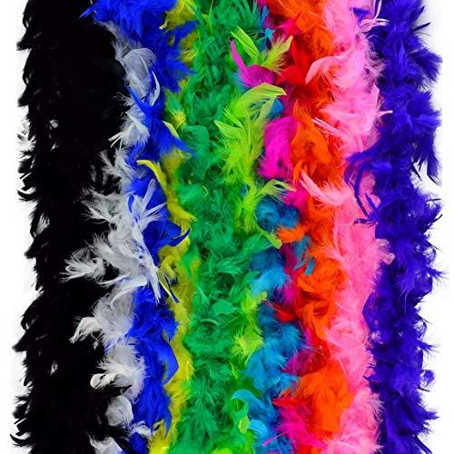Lystaii 12PCS Plumas de Fiesta de Colores Boas Mardi Gras Boa Disfraz Accesorio de Fiesta