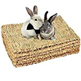 JWShang Paquete de 6 alfombrillas de césped de conejo, de paja natural, para cama de conejo, para masticar, juguete para conejo, conejo, heno para conejo, hámster, rata