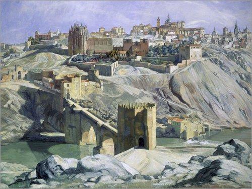 Posterlounge Lienzo 40 x 30 cm: Landscape of Toledo de Ignacio Zuloaga Zabaleta/akg-Images - Cuadro Terminado, Cuadro sobre Bastidor, lámina terminada sobre Lienzo auténtico, impresión en Lienzo
