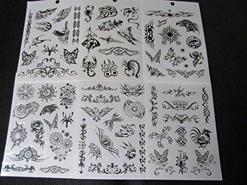 Temporäre Tattoos Ein Buch mit 6 Blättern Herren Jungen Schwarz Keltisch Chinesisch Drachen Tribal Totenköpfe Spinnen Skorpione Tiger oder Mädchen Blumen Schmetterlinge Kunst Tattoos von Fat-Catz-copy-catz - Einheitsgröße, Jungen Buch #18