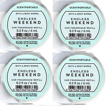 Bath and Body Works 4 Pack Endless Weekend Scentportable Fragrance Refill. 0.2 Oz.
