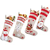N/S Calcetín de Navidad, Juego de 4pcs Navidad Bolsa de Regalo Calcetines, Chimenea Decoración Colgante diseño de Papá Noel, Muñeco de Nieve, Reno y Copo de Nieve-48×28cm (A)