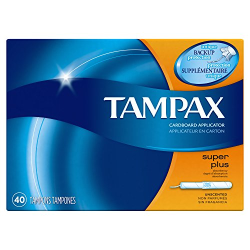 Tampax Cardboard Applicator Tampons Super Plus Absorbency Unscented 40 Count