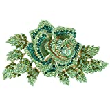 EVER FAITH Women's Austrian Crystal Gorgeous Party Prom 6 Inch Rose Flower Leaf...
