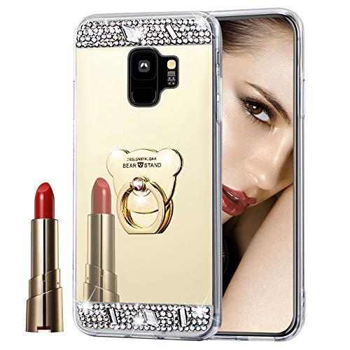 Glitzer Spiegel Hülle für Galaxy S9 Gold, Misstars Bling Diamant Strass Überzug TPU Silikon Handyhülle Ultradünn Kratzfest Schutzhülle mit Bär Ring Ständer für Samsung Galaxy S9