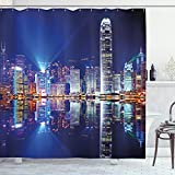 ABAKUHAUS Stadt Duschvorhang, Hong Kong Island Modern, mit 12 Ringe Set Wasserdicht Stielvoll Modern Farbfest & Schimmel Resistent, 175x240 cm, Königsblau Orange Weiß