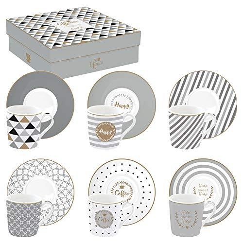 EASY LIFE 126CMHA - Set di 6 Tazze da caffè, in Porcellana, Multicolore, 10 cm