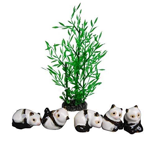 OMEM Reptiel Decoraties Planten 5 Panda 1 Bamboe Reptielen Doos Bevochtigde Habitat Ornamenten voor Terrarium Landscaping Decor