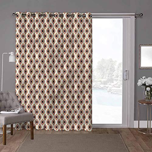YUAZHOQI cortinas correderas de cristal para puerta, Ikat, pavo real, patrón ovalado, ancho 52 x largo 84 pulgadas, privacidad vertical persiana para sala de estar (1 panel)