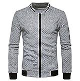Tefamore Hommes Manche Longue Cardigan en Plaid Sweatshirt à glissière Tops Veste Manteau Outwear (S, Gris)