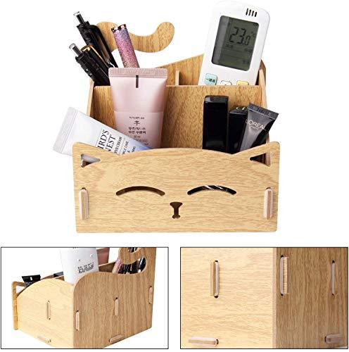 Fai da te in legno assemblare portamatite con penna a forma di gatto carino. Supporto per organizzatore da scrivania per casa, ufficio (quercia)