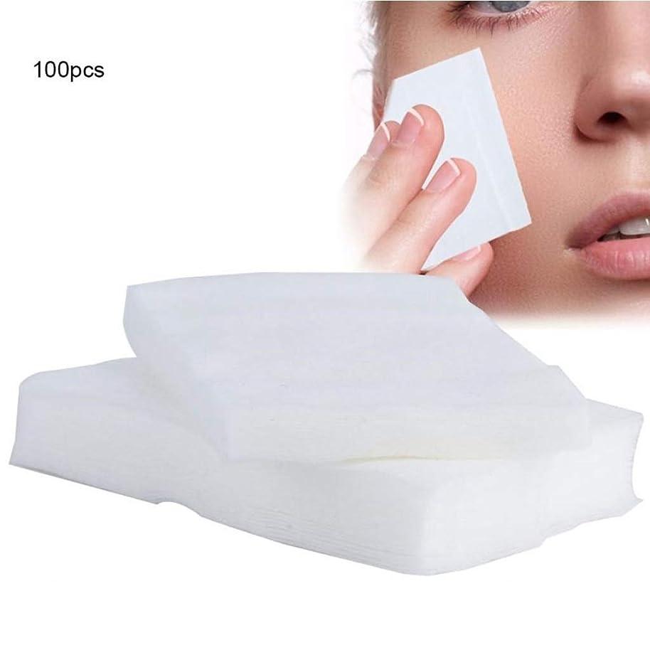 目立つレイカフェクレンジングシート 100ピース化粧コットンパッド使い捨て化粧品リムーバーソフトフェイシャルクレンジングワイプペーパータオルメイクアップリムーバーワイプ (Color : White, サイズ : 6*7cm)