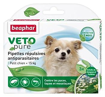 Beaphar - VETOpure, pipettes répulsives antiparasitaires - petit chien (<15 kg) - 3 pipettes