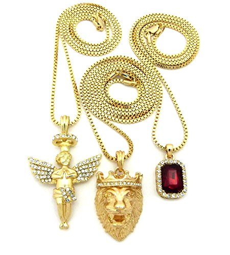 Shiny Jewelers USA Mens Hip HOP ICED Out Angel Lion RED Ruby Onyx Blue Green Pendant 3 Chain Necklace (Red Stone)