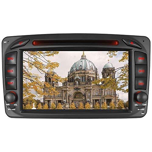 Junhua für Mercedes Benz W209 W203 W168 W163 W463 Viano W639 Vito Vaneo-Serie Doppel-Din-Head-Einheit 7-Zoll Screen Autoradio GPS Radio mit kostenloser Kartenkarte Ausbau Video Anleitung