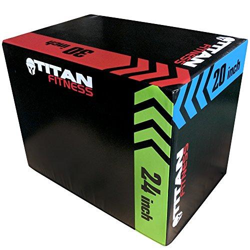 "Titan Fitness 3 In 1 20"" 24"" 30"" Soft Foam Plyometric Box Jumping Exercise Safe"