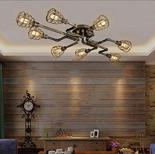 Kroonluchter voor slaapkamer, kroonluchter, plafondlamp van kristalglas, hanglamp, binnenlamp, loft, retro, wind, industriële modus, creatief, ijzeren slang, plafondlamp, bar, woonkamer E