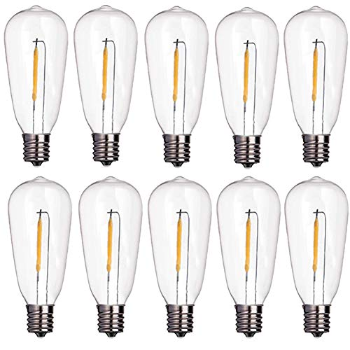 Goothy 10-Pack LED Light Bulbs 0.6 Watt C9/E17 Screw Base ST40 Replacement Clear Plastic Light Bulbs for Outdoor Patio ST40 String Lights, Warm White