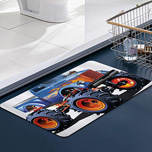 Carvapet Alfombras Cocina Lavable Antideslizante Man Cave Cartoon Monster Truck Neumáticos enormes Off-Road Heavy Large Tractor Wheels Turb Alfombrilla Alfombra de Baño Alfombrillas Cocina 50x80 cm