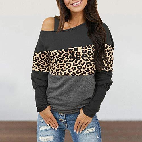 Chnrong - Blusa de manga larga para mujer con hombros descubiertos, color block Twist Casual Blusas Tops S