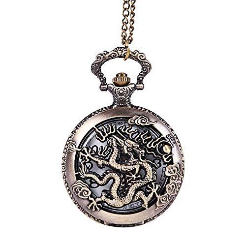 JIANGCJ Moda de Alta Gama Reloj de Bolsillo de Cuarzo clásico Creativo Antiguo Viento dragón Reloj de Bolsillo Bronce Relieve Hueco China Largo xiangyun Reloj de Bolsillo