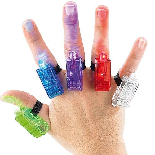 Infactory NC-8077 Lot de 5 anneaux pour doigt LED multicolores Rouge, blanc, bleu, vert, RVB - version allemande