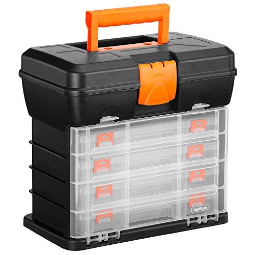 VonHaus Cassetta Porta Attrezzi Organizer Con 4 Cassetti Trasparenti E Divisori Regolabili – Nero – Ideale Per Lavoretti O Hobby