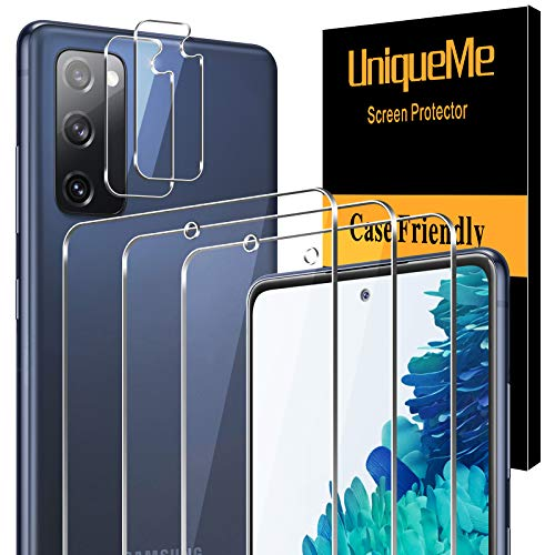 [3 Pack]UniqueMe Protector de Pantalla y [2 Pack] Protector de lente de cámara para para Samsung Galaxy S20 Fan Edition / S20 FE 5G, [Cobertura máxima][Sin Burbujas] HD Cristal Vidrio Templado