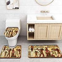 ZGDPBYF 浴室用アップホームバスマットレトロアートパターントイレプリントバスマットシャワーフロア用カーペットバスタブマット