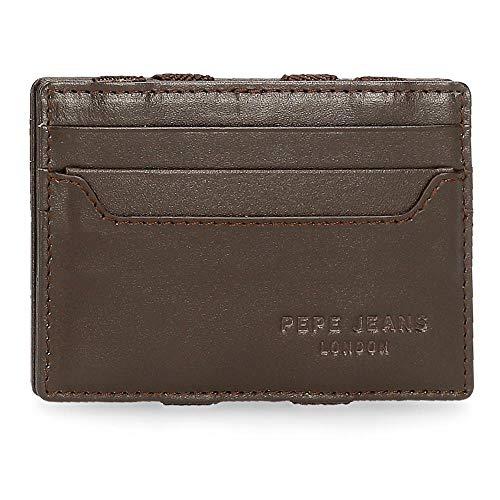 Pepe Jeans Dark Brieftasche mit Kartenhalter Braun 9,5x6,5x1 cms Leder