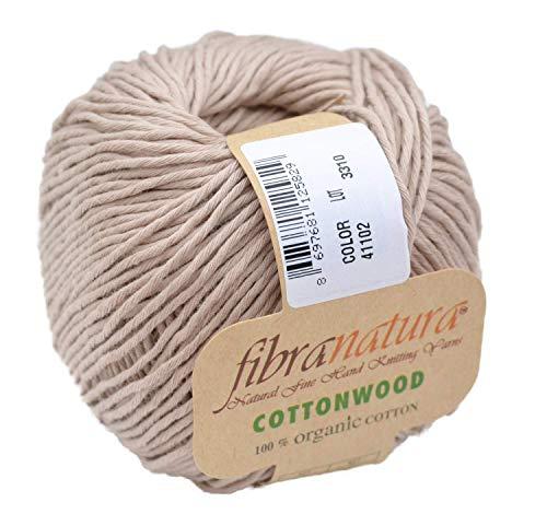 Gründl Fibranatura Cottonwood Fb. 41102 - beige, 100% Organic Cotton Baumwollgarn zum Häkeln und Stricken, Schulgarn Topflappengarn