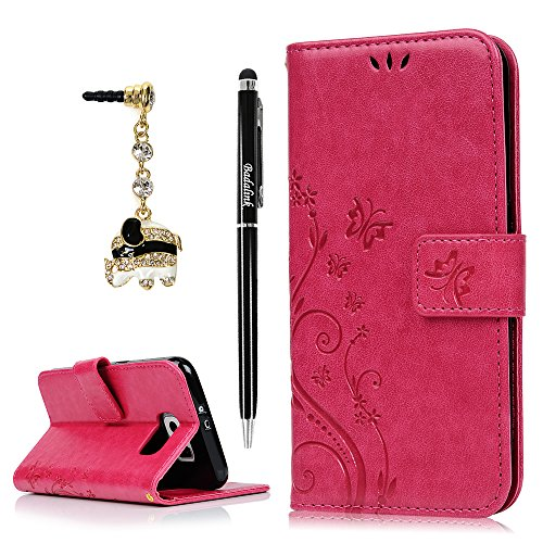S6 Case,Samsung Galaxy S6 Case (Non-Edge) - BADALink Fashion Wallet Premium PU Leather with Embossed Flowers Butterfly Flip Cover with Hand Strap & 3D Cute Elephant Dust Plug & Stylus Pen - Hot Pink