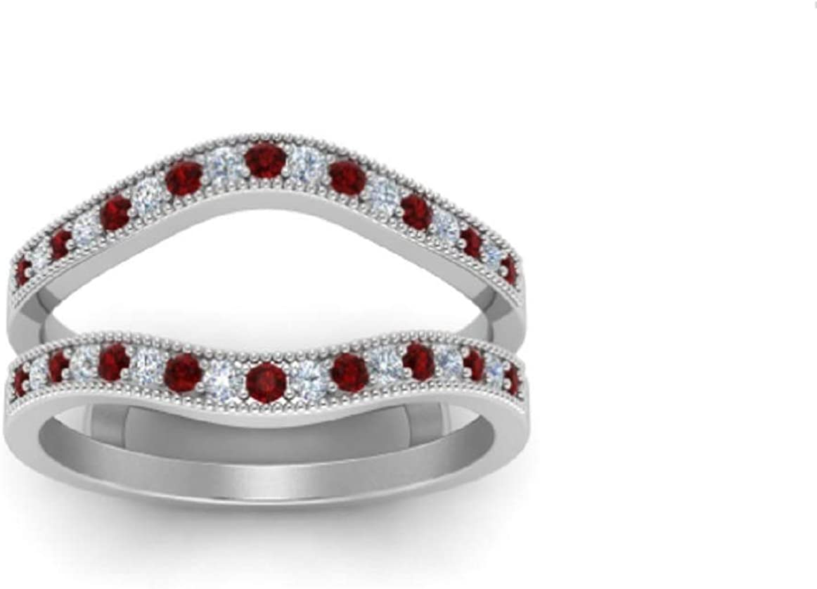 PB Collection Round Ruby White Diamond Ladies Japan's Ranking TOP6 largest assortment Simulated Annive
